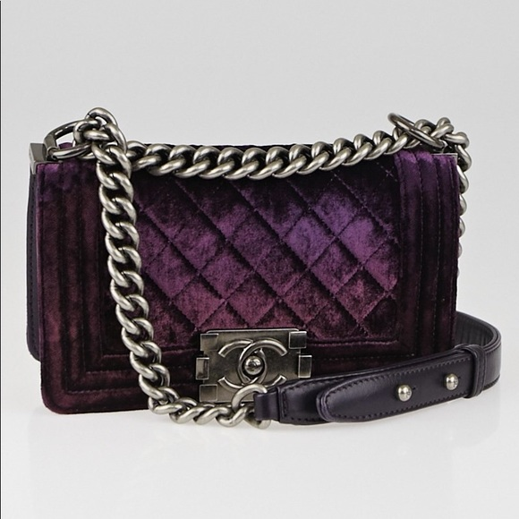 f39b15bf819353 CHANEL Bags | Soldauth Purple Velvet Small Boy Crossbody | Poshmark